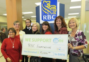 Donna Grainger, Christy Dobi (RBC Branch Manager), Wes Rogers (EKFH Co-chair, Lori Sissons, Kim Hull, Kim Leclerc and Donna Pascuzzo