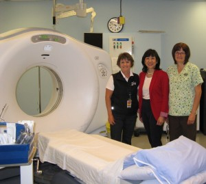 Jackie Lee-Son, Executive Director of the Woodward's Foundation is joined by Donna Grainger, EKFH and Jan Race, Assistant Manager Diagnostic Imaging on a recent tour of the EKRH